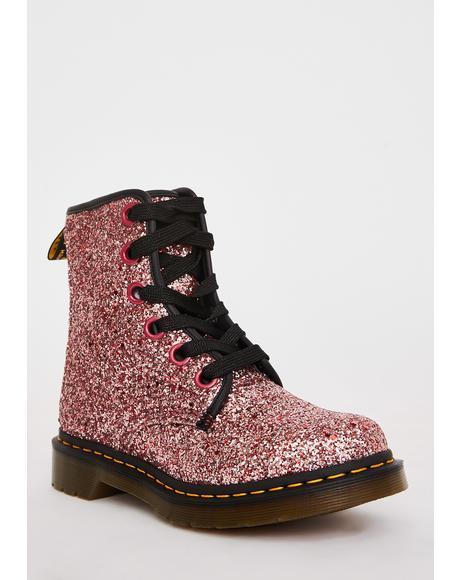 Pink 1460 Farrah Glitter Boots