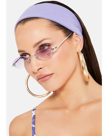 Purple Oval Rhinestone Sunglasses