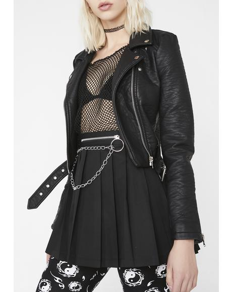 Black Chain Pleated Skirt
