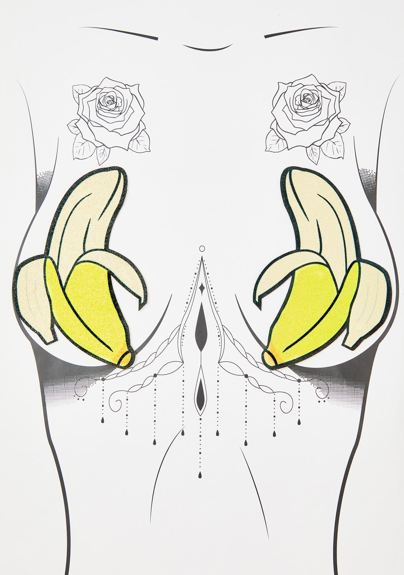 Neva Nude Peeled Banana Glitter Pasties