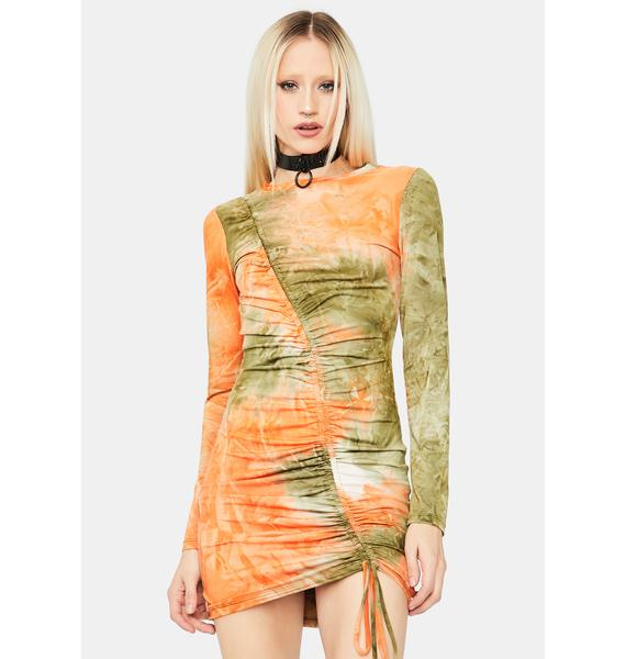 No Inhibitions Tie Dye Ruched Dress