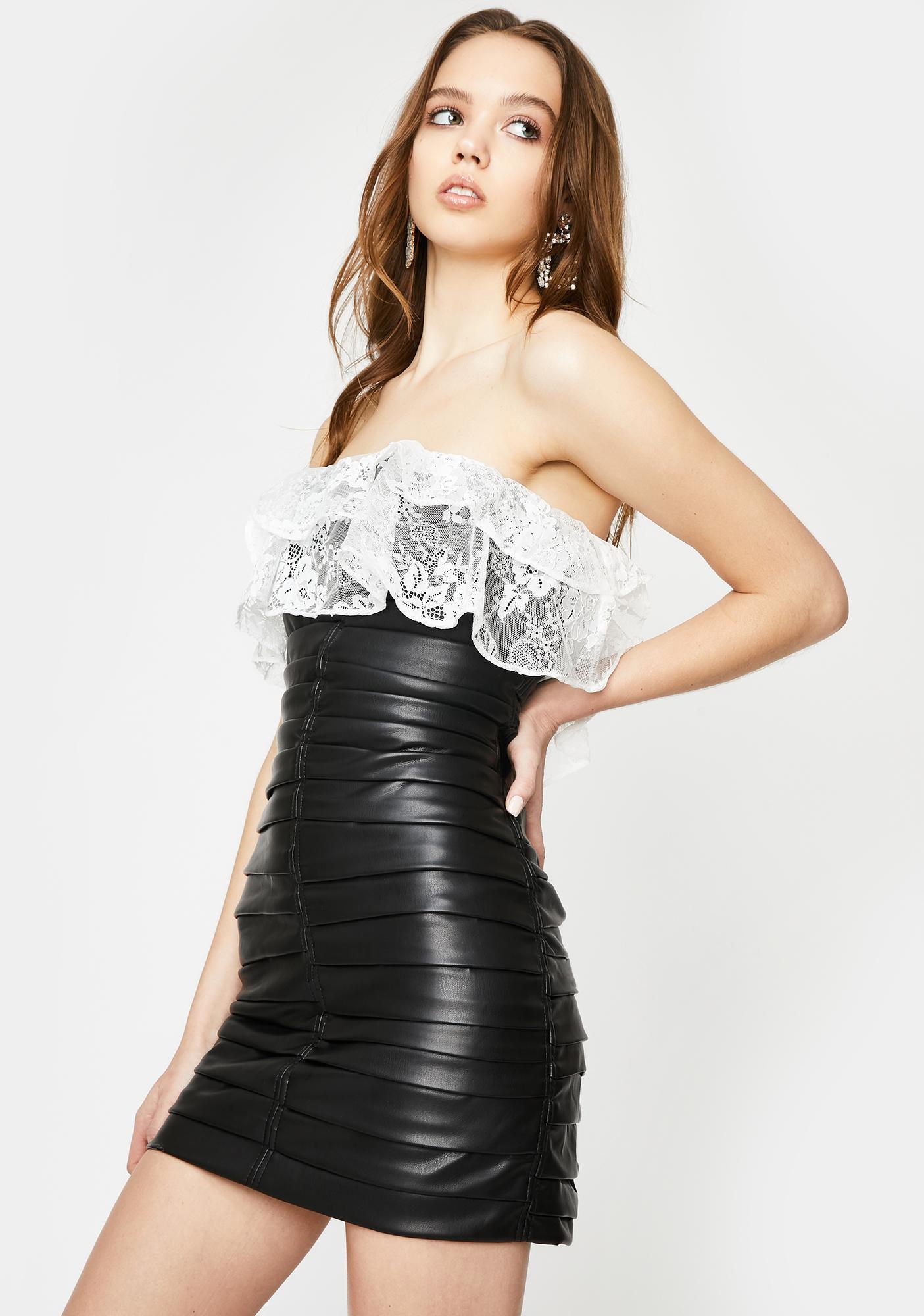 For Love & Lemons Afton Faux Leather Lace Mini Dress