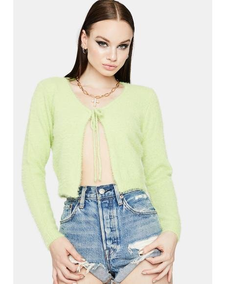 Lime Pure Fluff Tie Front Sweater