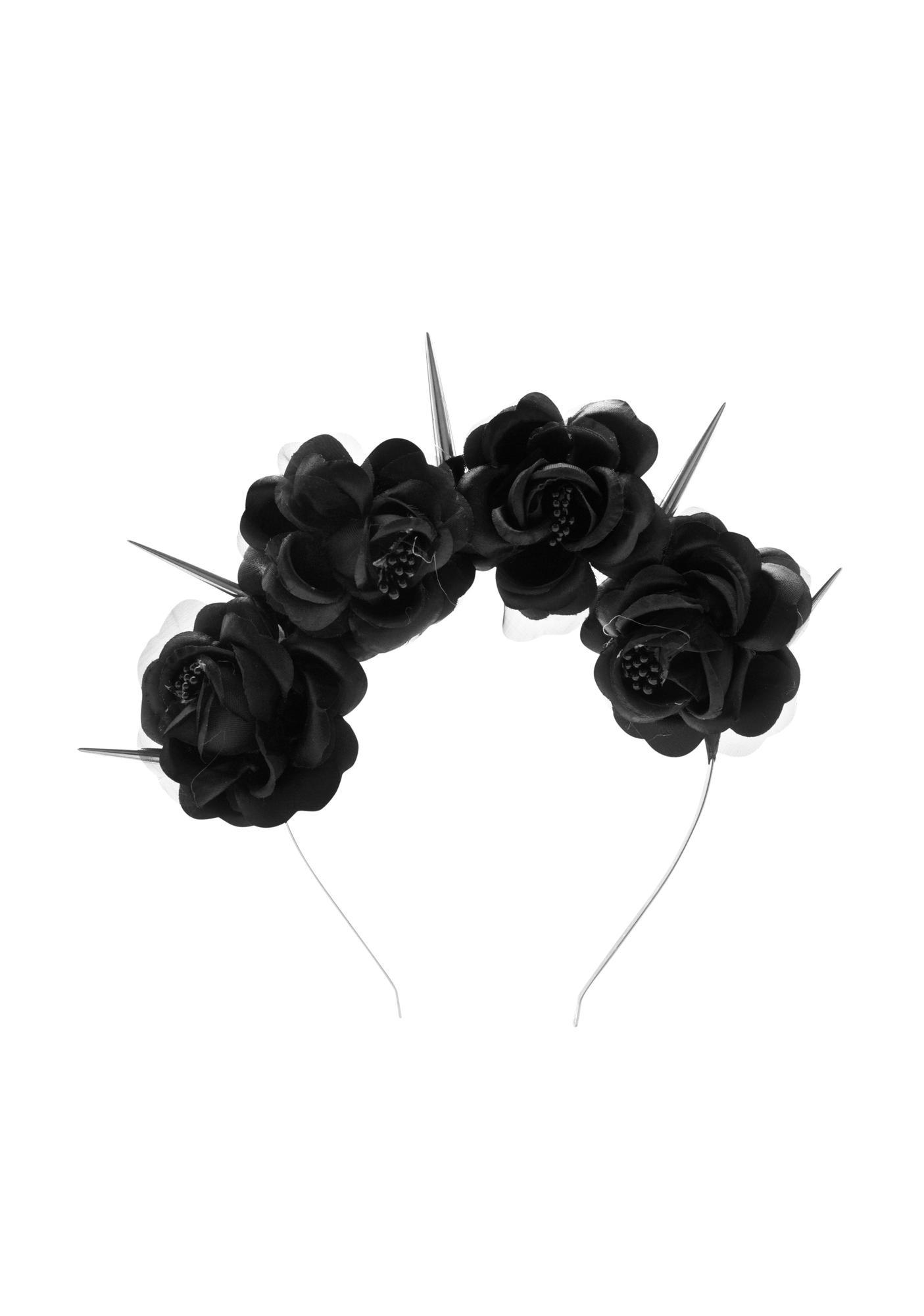 Black Dahlia Roses Headband