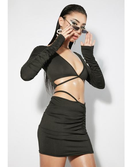Faking It Strappy Crop Top & Skirt Set
