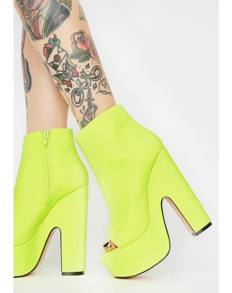 Neon Yellow Sandspur Peep Toe Heels