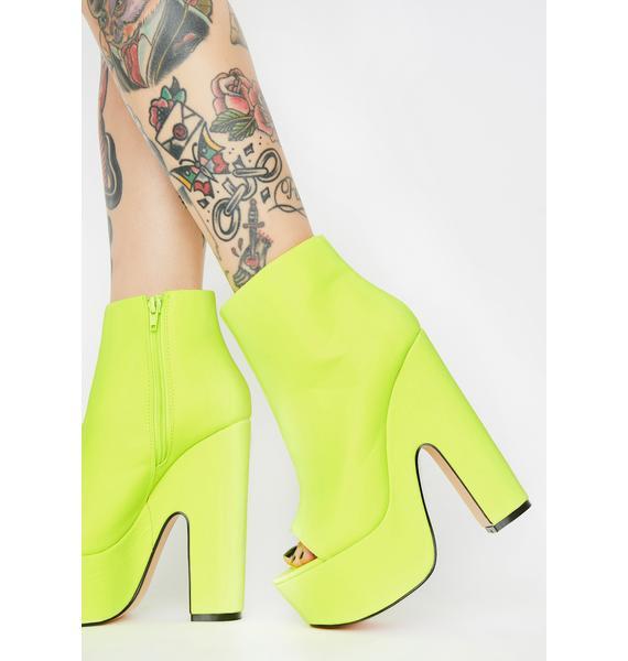 Lemon Drop by Privileged Neon Yellow Sandspur Peep Toe Heels