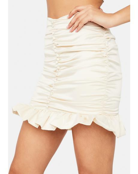 Calm With Love From LA Ruched Button Front Mini Skirt
