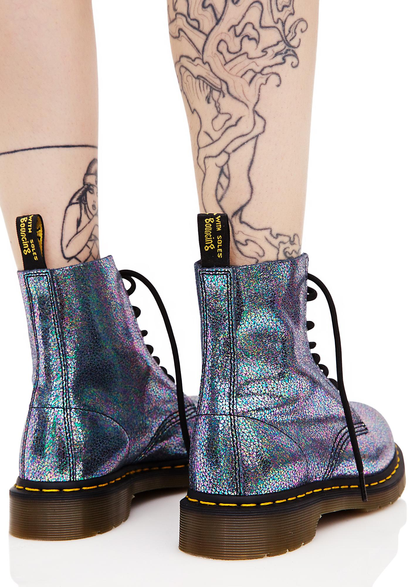 Dr. Martens 1460 PASCAL GLITTER - Lace-up boots - turquoise 1H44S