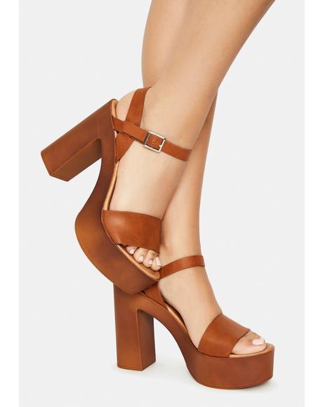 Tan Push N Pull Platform Sandals