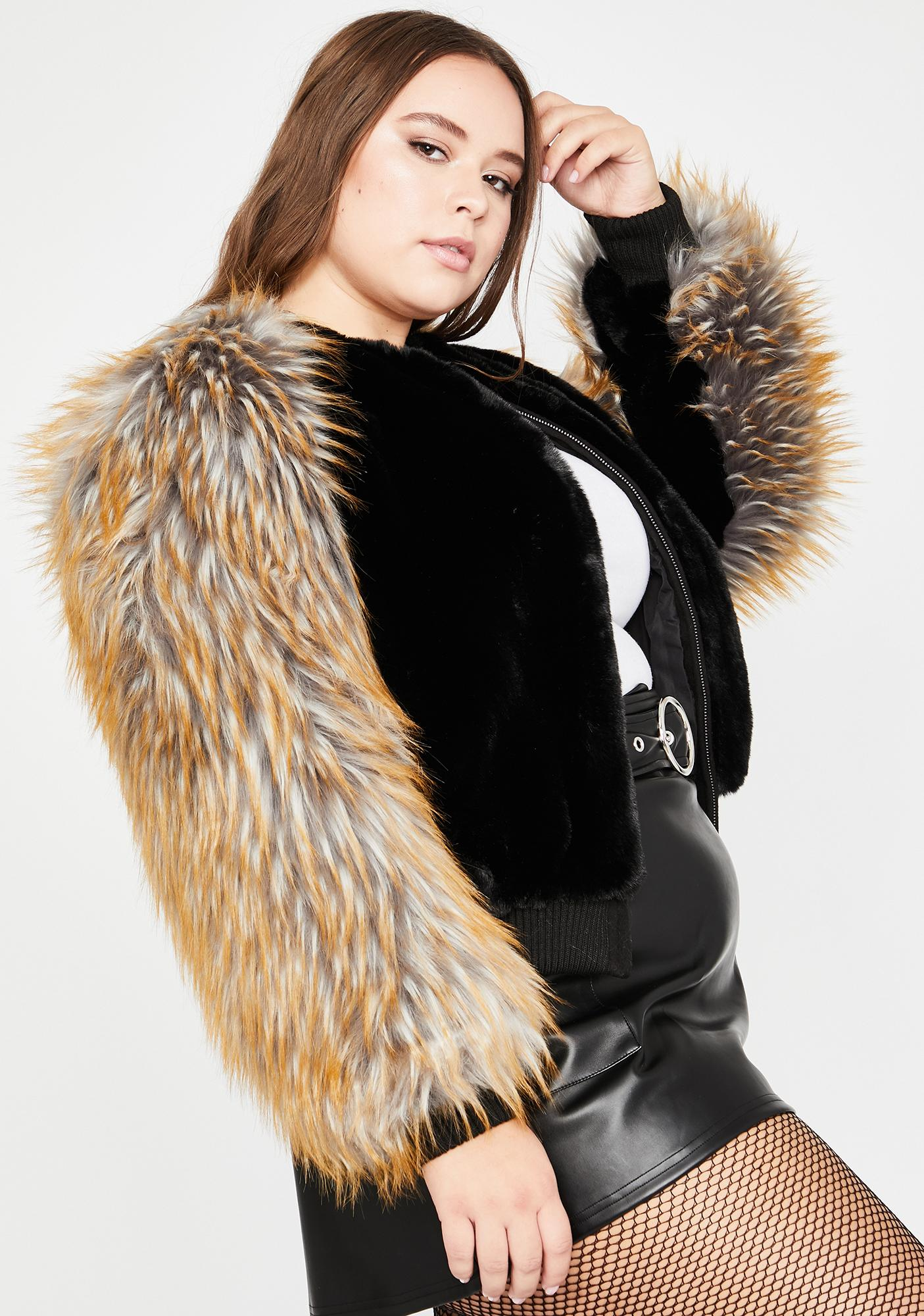 She Plays No Games Faux Fur Jacket