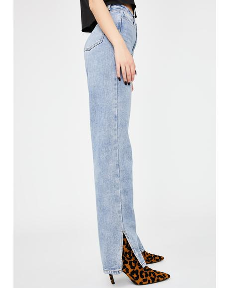 Split Hem Straight Leg Denim Jeans