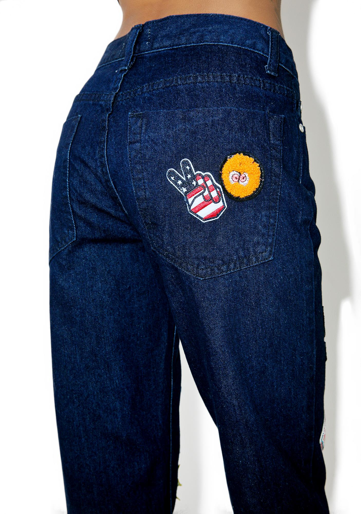Glamorous Patched Zone Mom Jeans