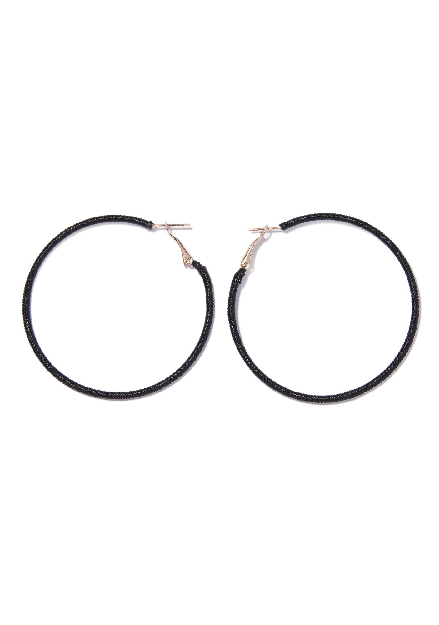 Stand Up Black Hoop Earrings