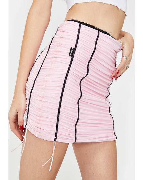 Pink Mood Ruched Mini Skirt