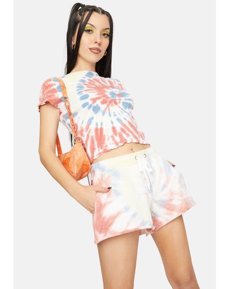 Apricot Swirl Tie Dye Lounge Shorts