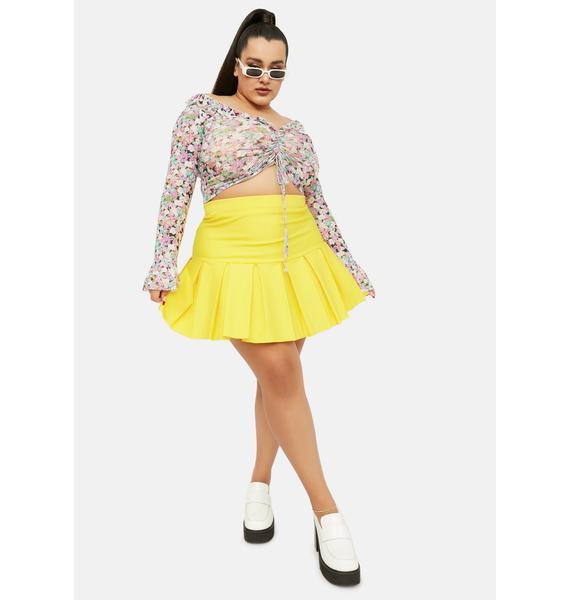 Lemon Legit Wicked Scholar Pleated Mini Skirt