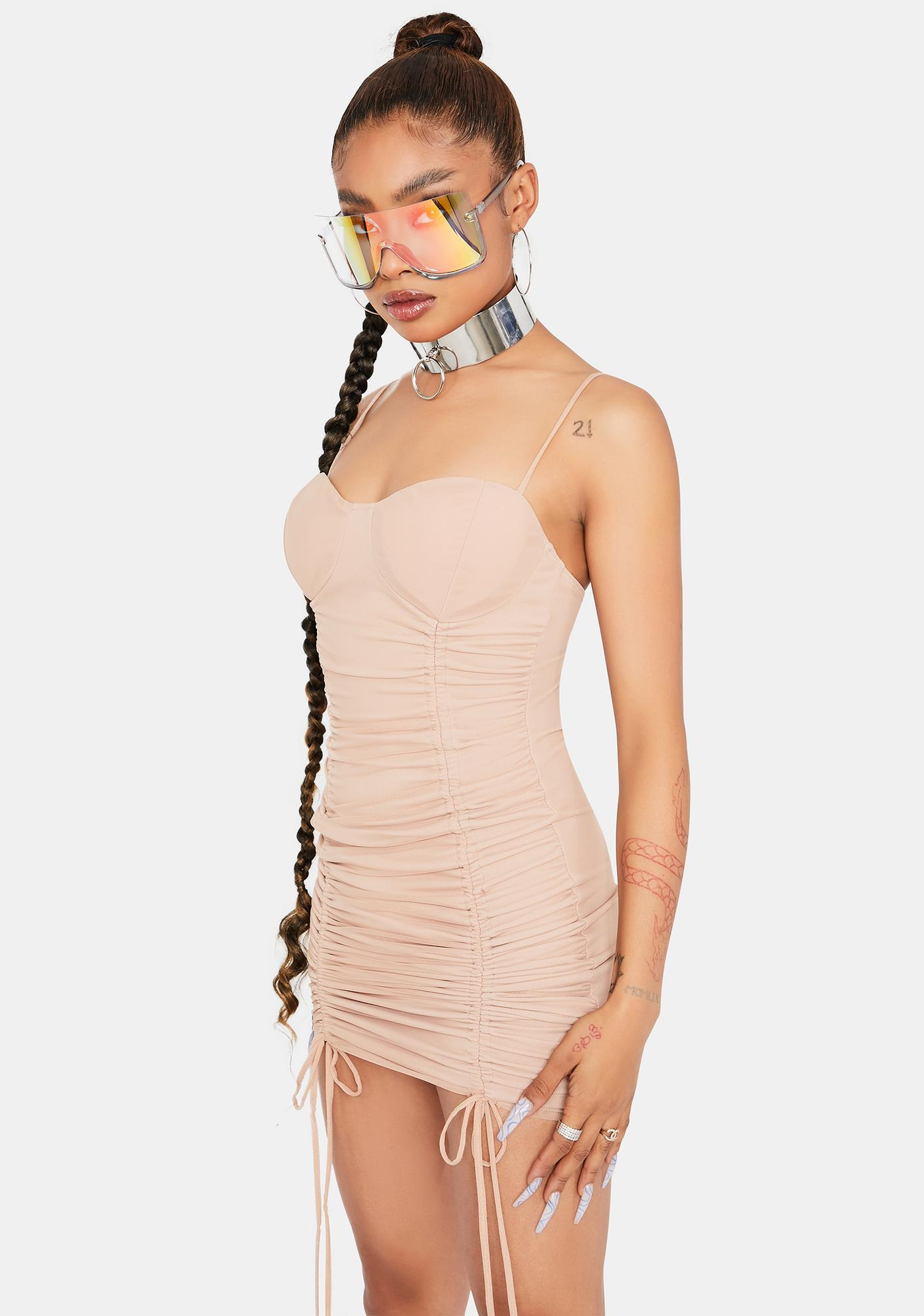 Latte Keep Talkin' Ruched Bodycon Dress