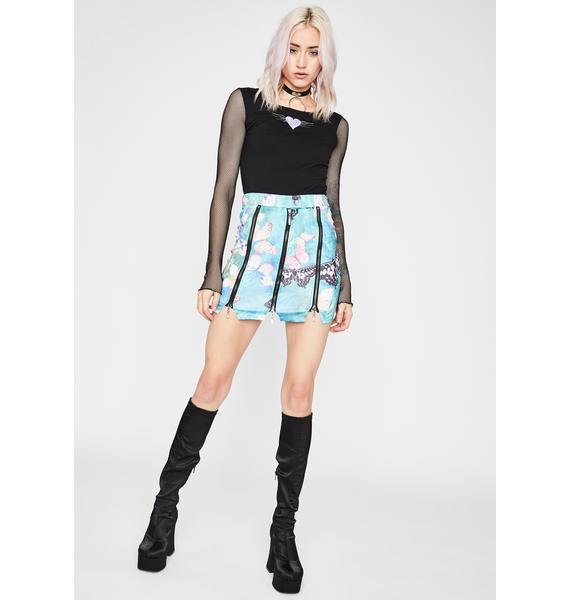 Aqua Electric Forest Zipper Skirt