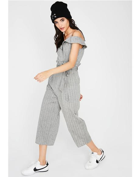 What's The Tea Striped Jumpsuit