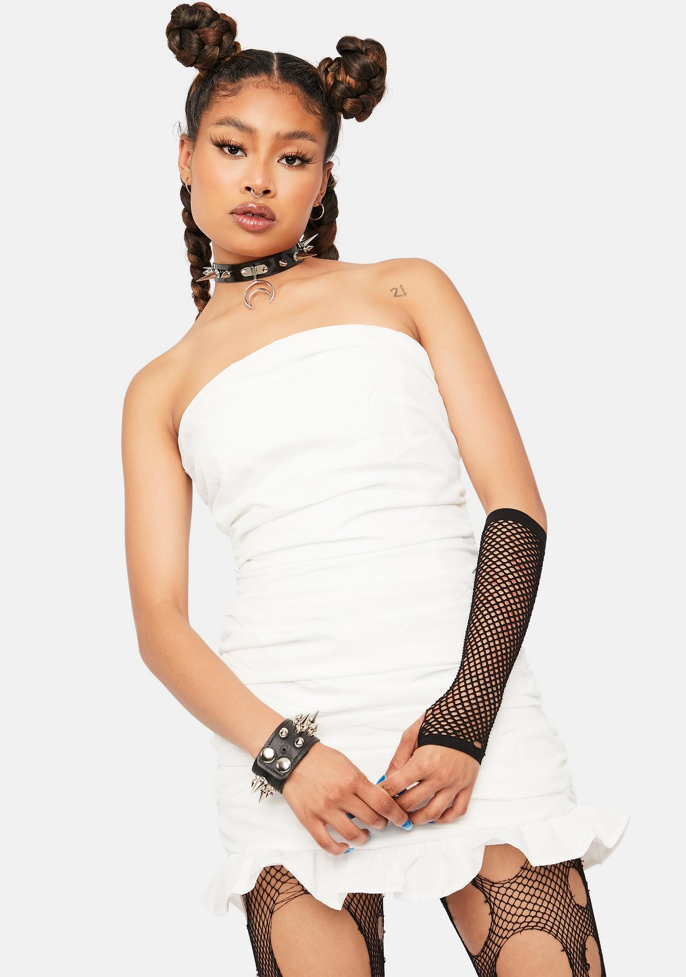 Ivory Be Unique Strapless Ruched Mini Dress