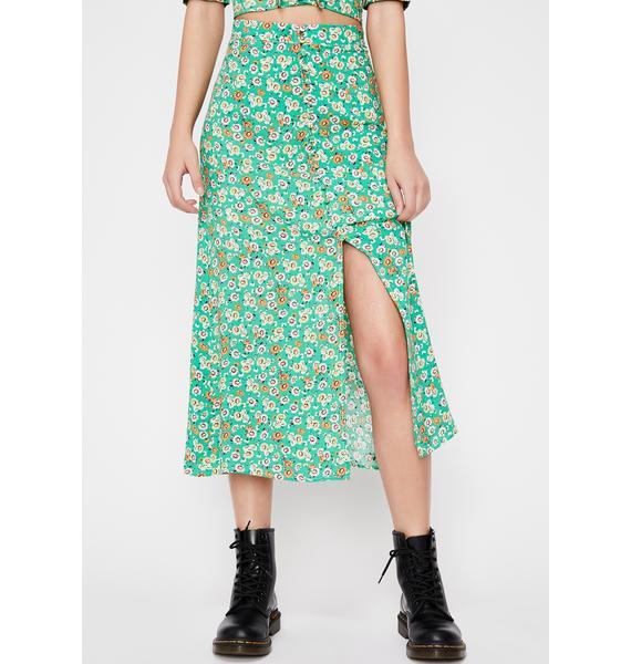 Lush Rush Floral Midi Skirt