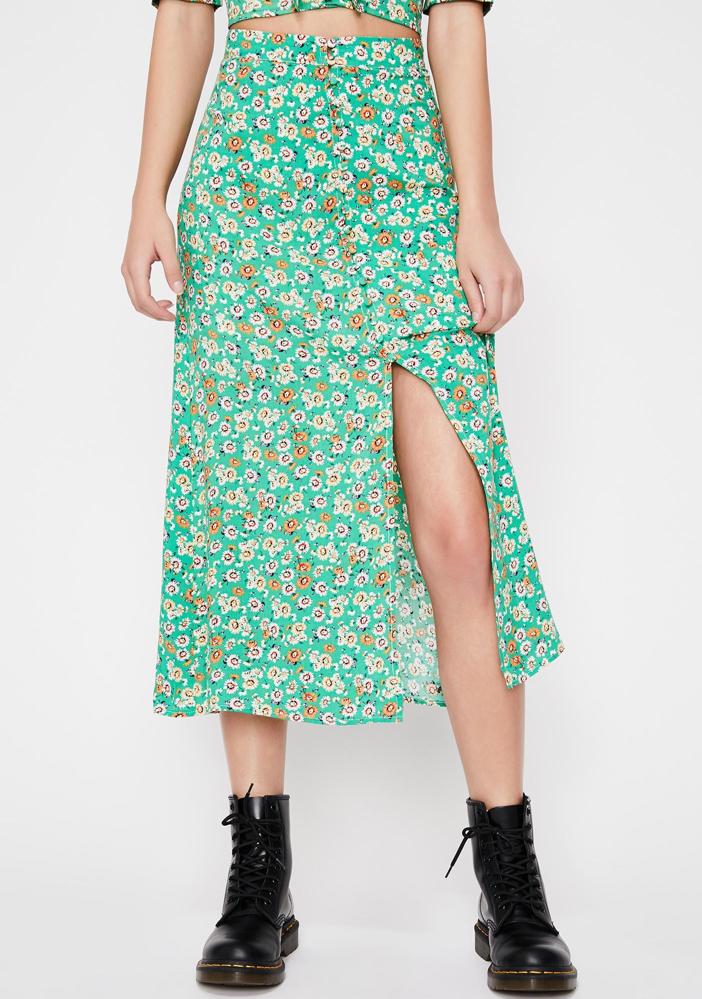 4aa2f4ecea Green Floral Midi Skirt | Saddha