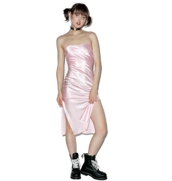 Dyspnea Pink Gold Digger Midi Slip Dress