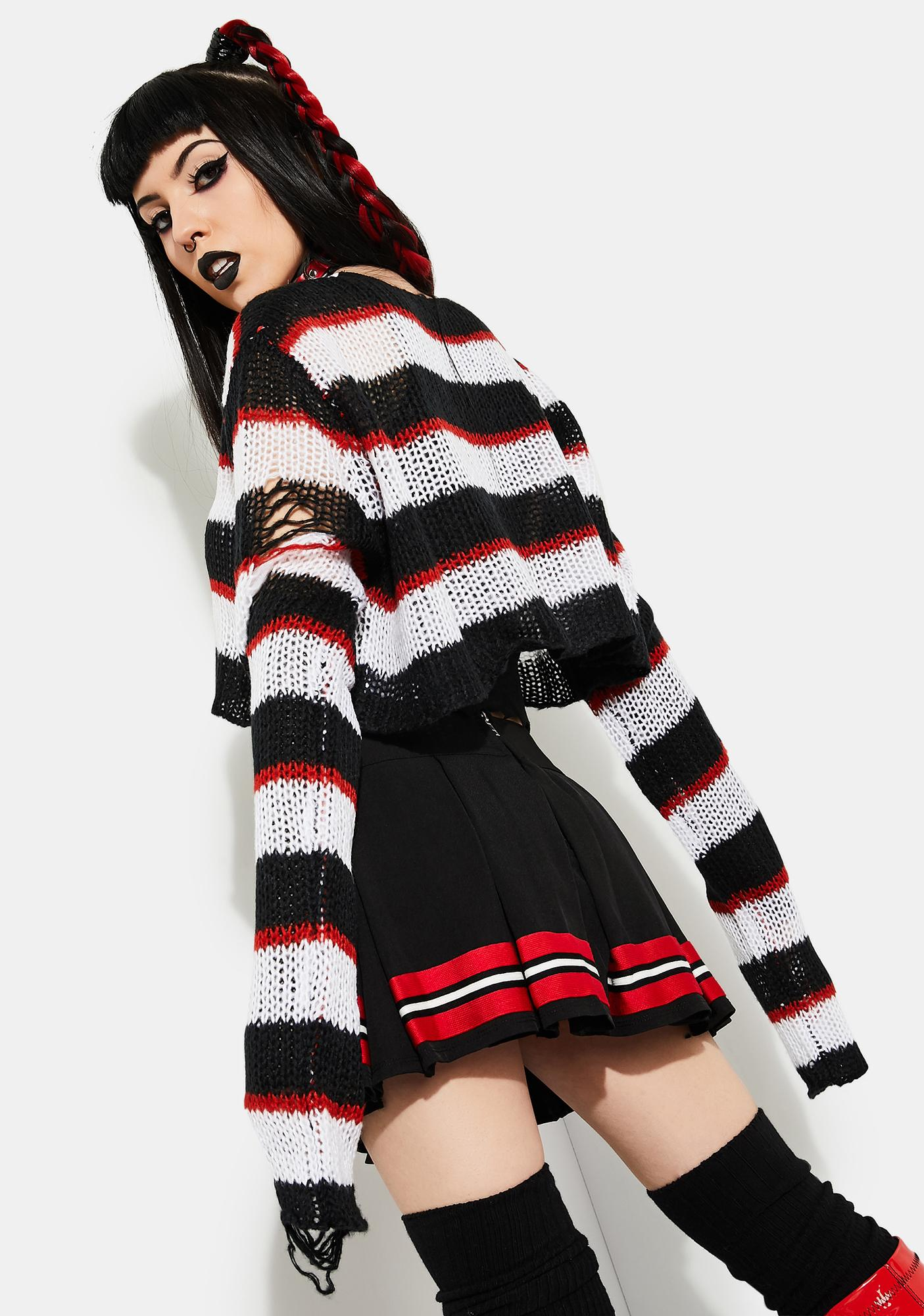 Current Mood Day Of Doom Striped Knit Sweater