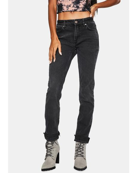Cuffed Slim Denim Boyfriend Jeans