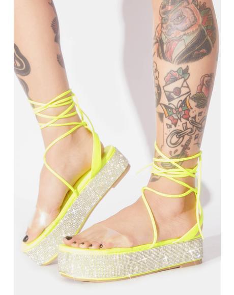 Minty Festie Glam Platform Sandals