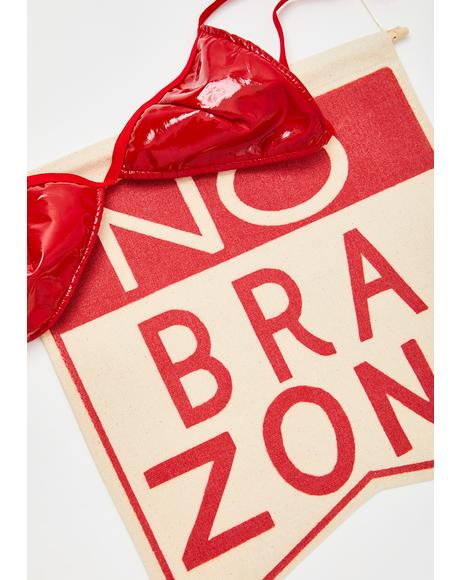 No Bra Zone Wall Hanging