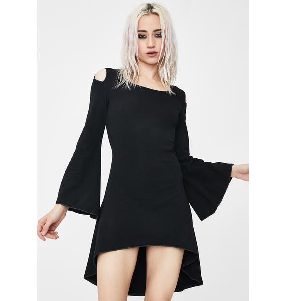 Dark In Love Gothic Cross Back Long Sleeve Dress