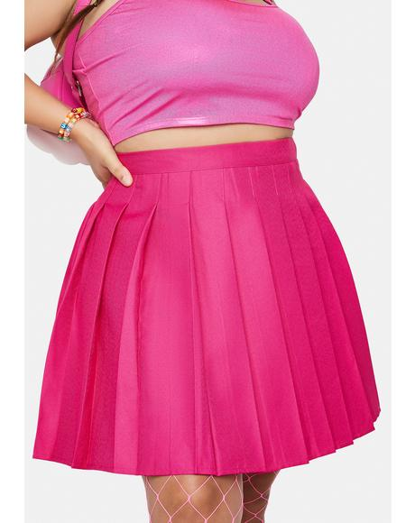 Magenta She's Just Like Candy Pleated Skirt