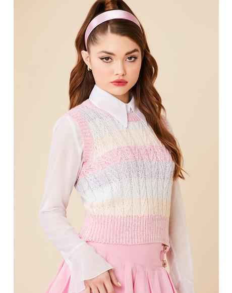 Sealed With A Kiss Striped Sweater Vest