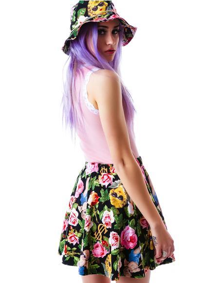 Angelic Rich Floral Skater Skirt