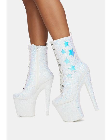 Mya Star White Glitter Platform Boots