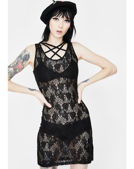 Tied Up In Lace Mini Dress