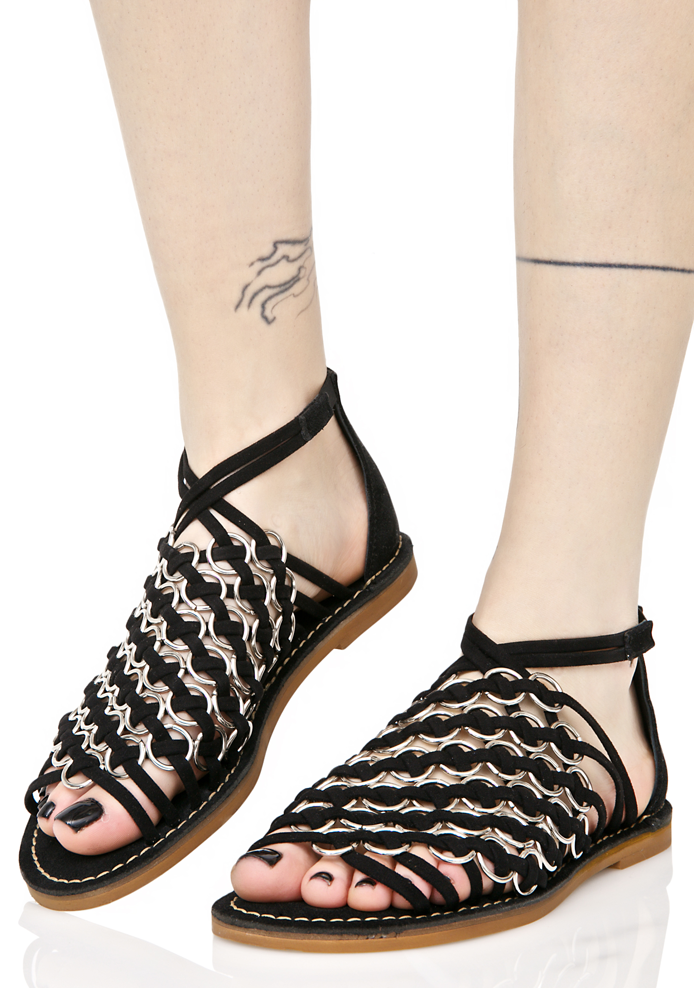 Strappy Black O Ring Sandals