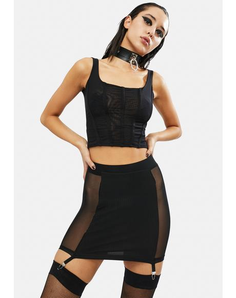 Takin' You Down Mesh Garter Skirt