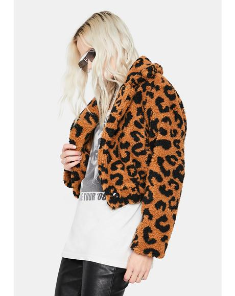 Livelong Leopard Fluffy Crop Jacket
