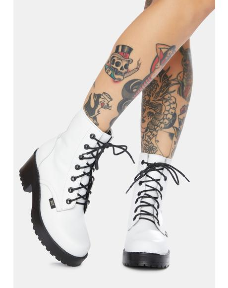 Chisel White Leather Combat Boots