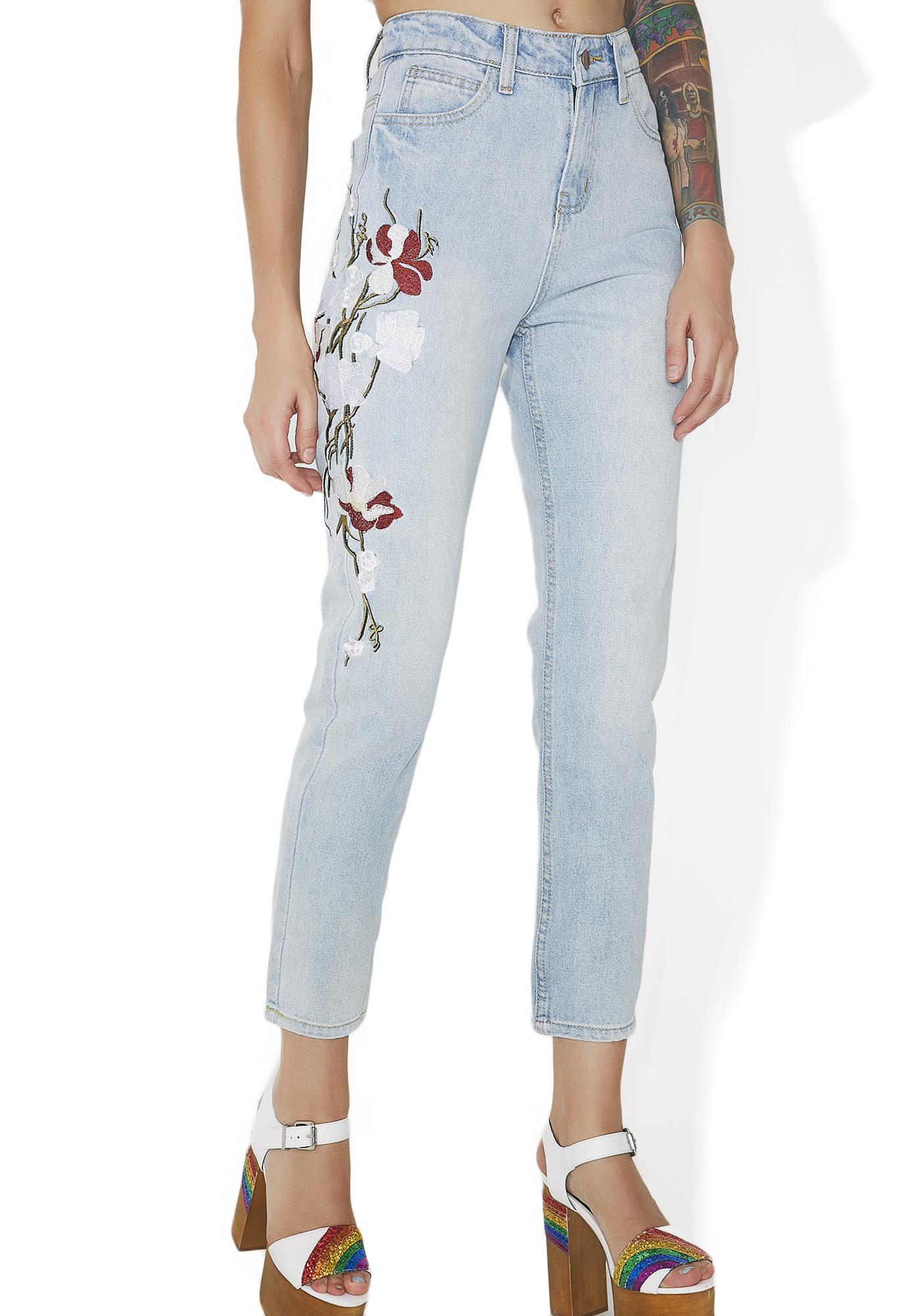 Floral Embroidered Light Blue Denim Jeans