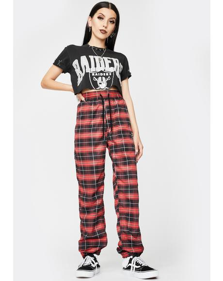 Red Wonder Plaid Track Pants