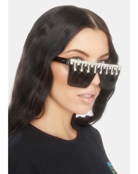Noir Designer Drip Rhinestone Sunglasses