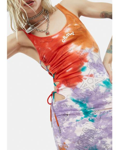 Liveution Tie Dye Lace-Up Dress
