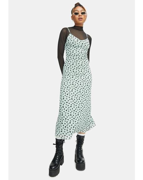 Sage Flower Cotina Midi Dress
