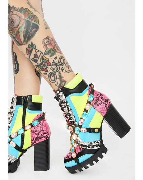 Fluorescent Drippin' Diva Rhinestone Boots