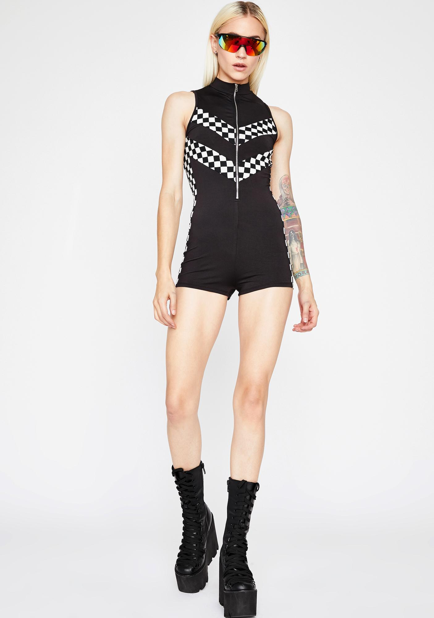Space Race Checkered Romper