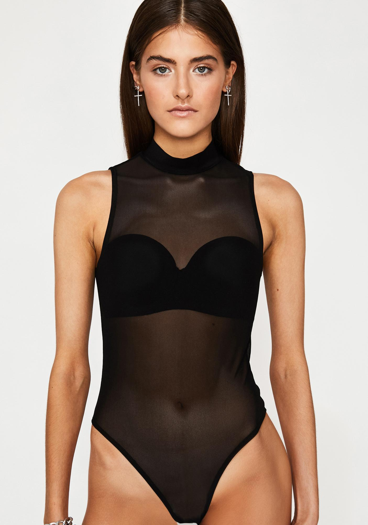 39e560cbc80d Black Mesh Mock Neck Bodysuit | Dolls Kill